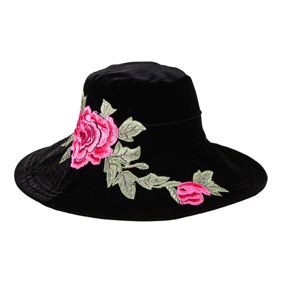 Black Velvet Floppy Hat